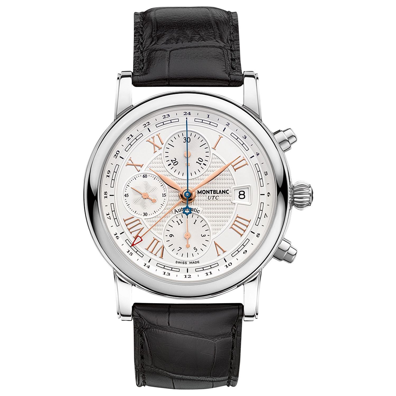 Montblanc Montblanc 113880 Men's Star Roman Chronograph UTC Automatic Carpe Diem Special Edition Leather Strap Watch, Black/White