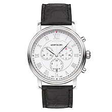 Buy Montblanc 114339 Men's Tradition Chronograph Alligator Leather Strap Watch, Black/White Online at johnlewis.com