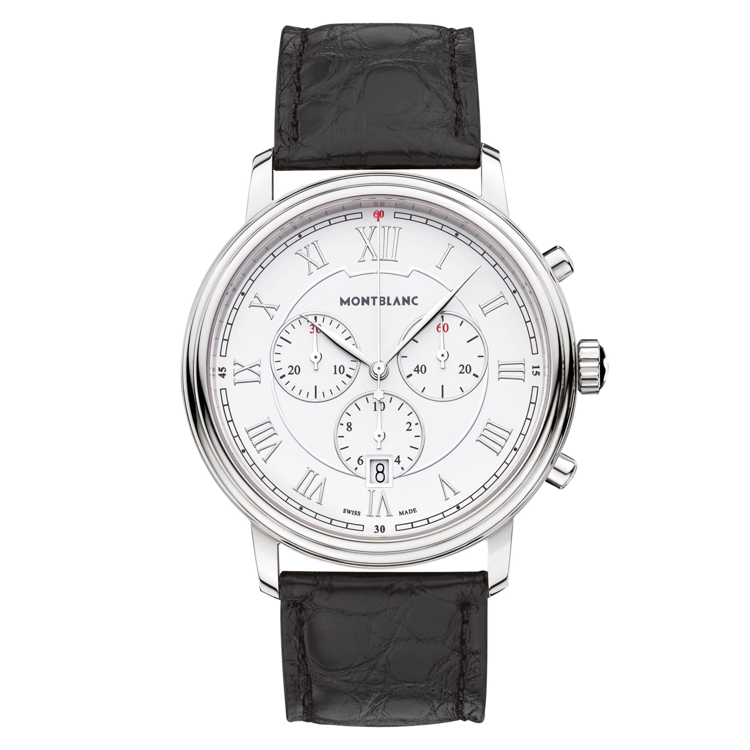 Montblanc Montblanc 114339 Men's Tradition Chronograph Alligator Leather Strap Watch, Black/White