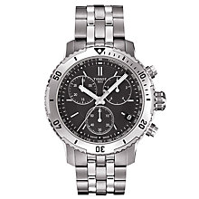 Buy Tissot T0674171105101 Men's T-Sport PRS200 Chronograph Date Bracelet Strap Watch, Silver/Black Online at johnlewis.com