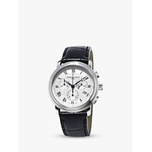 Buy Frédérique Constant FC-292MC4P6 Men's Classics Chronograph Date Leather Strap Watch, Black/Silver Online at johnlewis.com