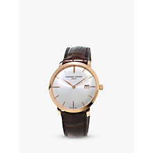 Buy Frédérique Constant FC-306V4S4 Men's Slimline Automatic Leather Strap Watch, Brown/White Online at johnlewis.com