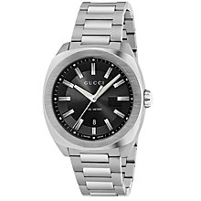 Buy Gucci YA142201 Men's GG2570 Date Bracelet Strap Watch, Silver/Black Online at johnlewis.com