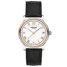 Buy Montblanc 114368 Women's Tradition Date Automatic Alligator Leather Strap Watch, Black/White Online at johnlewis.com