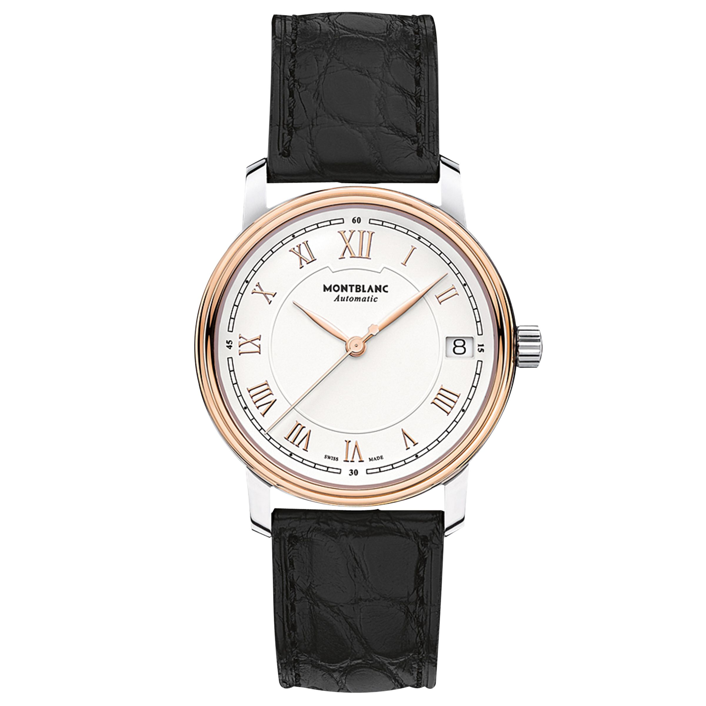 Montblanc Montblanc 114368 Women's Tradition Date Automatic Alligator Leather Strap Watch, Black/White