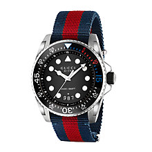 Buy Gucci YA136210 Men's Dive Date Fabric Strap Watch, Dark Blue/Red Online at johnlewis.com