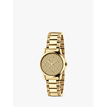 Buy Gucci YA126553 Women's G-Timeless Date Bracelet Strap Watch, Silver/Gold Online at johnlewis.com