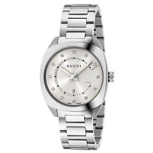 Buy Gucci YA142403 Women's GG2570 Diamond Date Bracelet Strap Watch, Silver Online at johnlewis.com