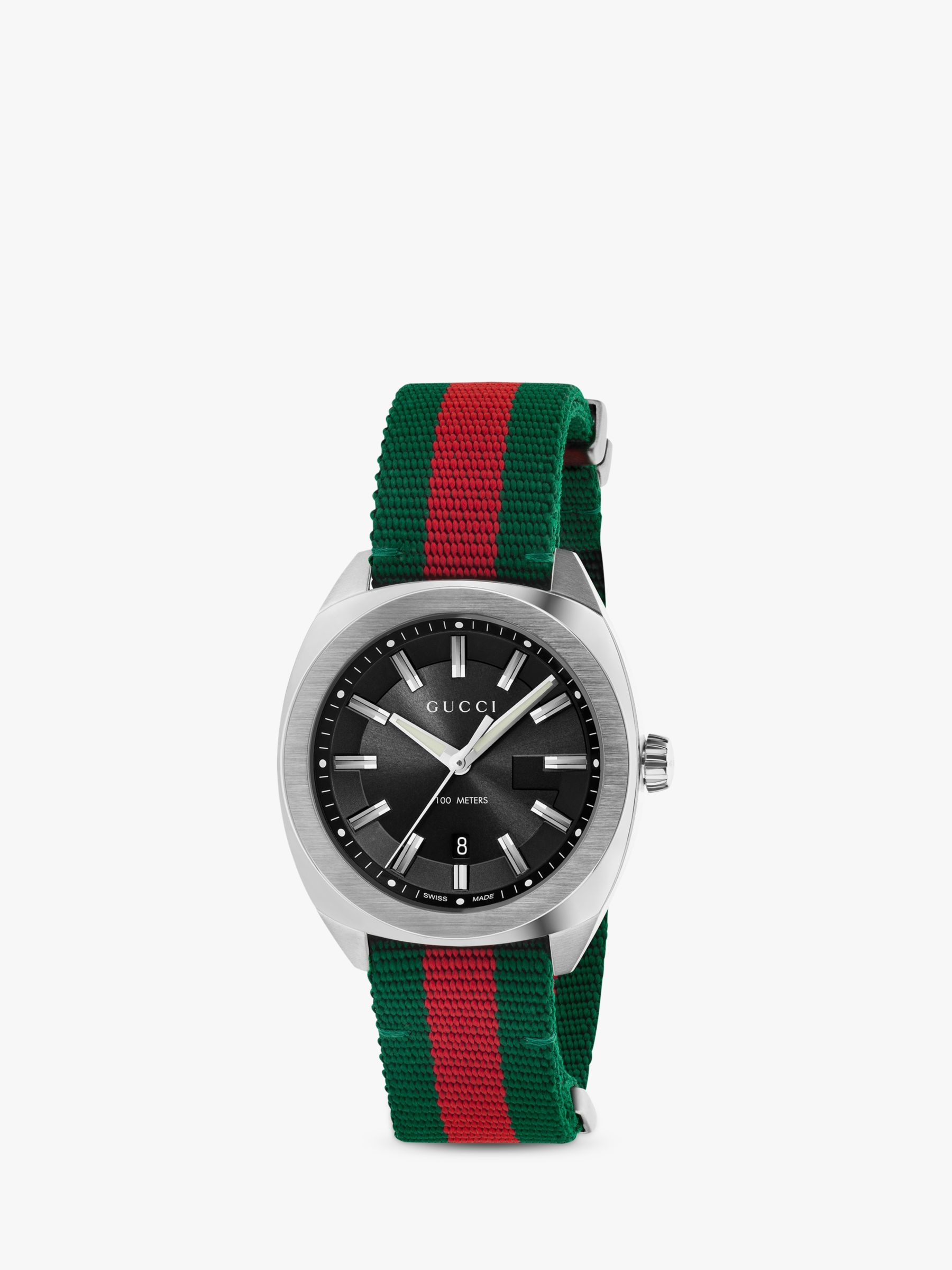 Buy Gucci YA142305 Men's GG2570 Date Fabric Strap Watch, Red/Green Online at johnlewis.com