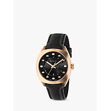 Buy Gucci YA142407 Women's GG2570 Date Leather Strap Watch, Black Online at johnlewis.com