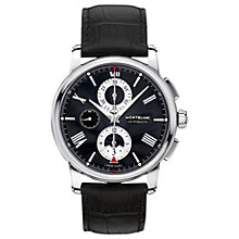 Buy Montblanc 115123 Men's 4810 Chronograph Leather Strap Watch, Black Online at johnlewis.com