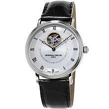 Buy Frédérique Constant FC-312MC4S36 Men's Heart Beat Automatic Leather Strap Watch, Black/Silver Online at johnlewis.com
