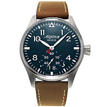 Buy Alpina AL-280N4S6 Men's Startimer Pilot Big Date Leather Strap Watch, Brown/Dark Blue Online at johnlewis.com