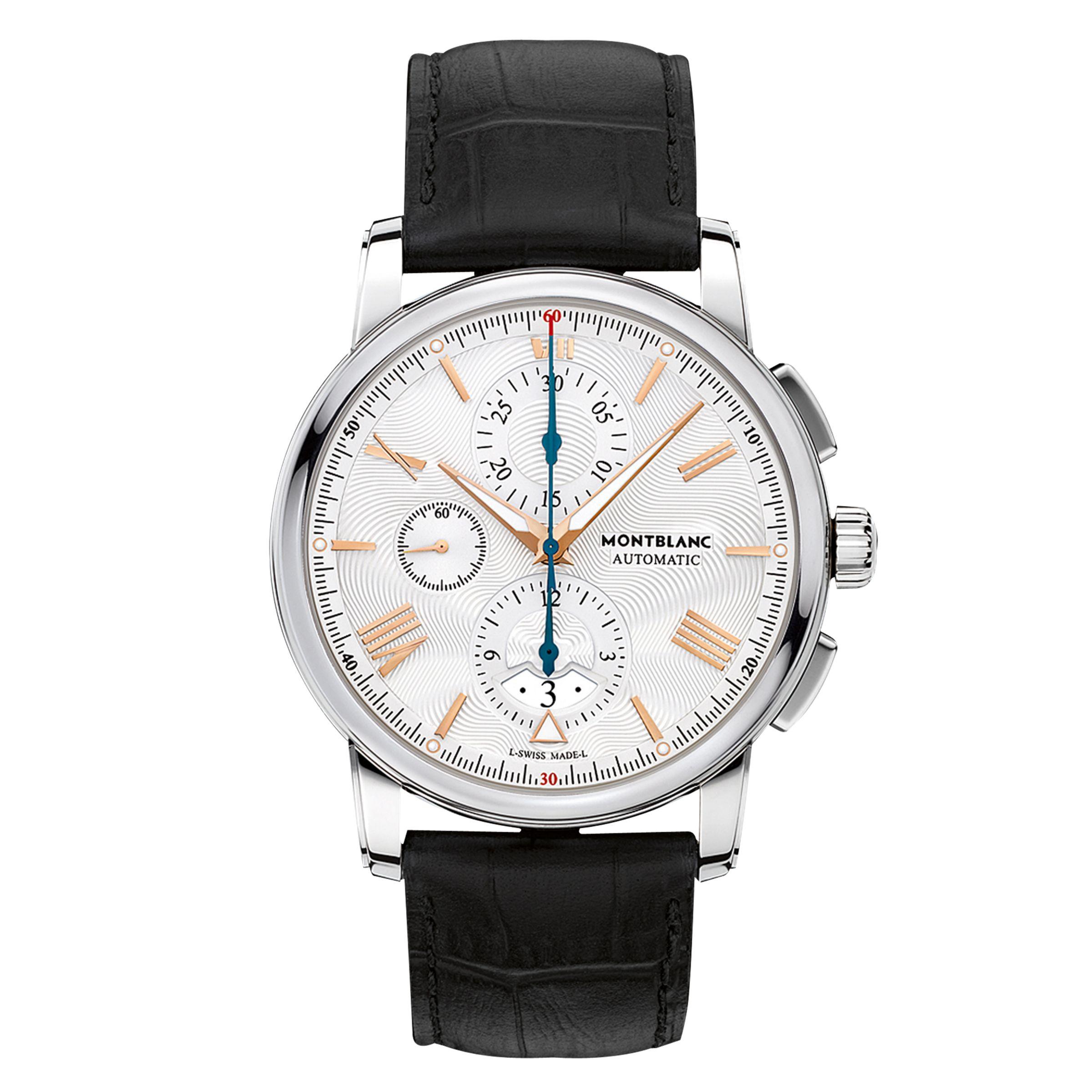 Montblanc Montblanc 114855 Men's 4810 Chronograph Automatic Alligator Leather Strap Watch, Black/Silver