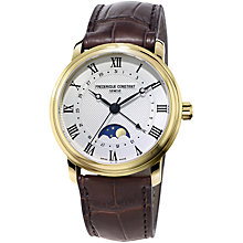 Buy Frédérique Constant FC-330MC4P5 Men's Classics Moonphase Date Automatic Leather Strap Watch, Brown/Silver Online at johnlewis.com