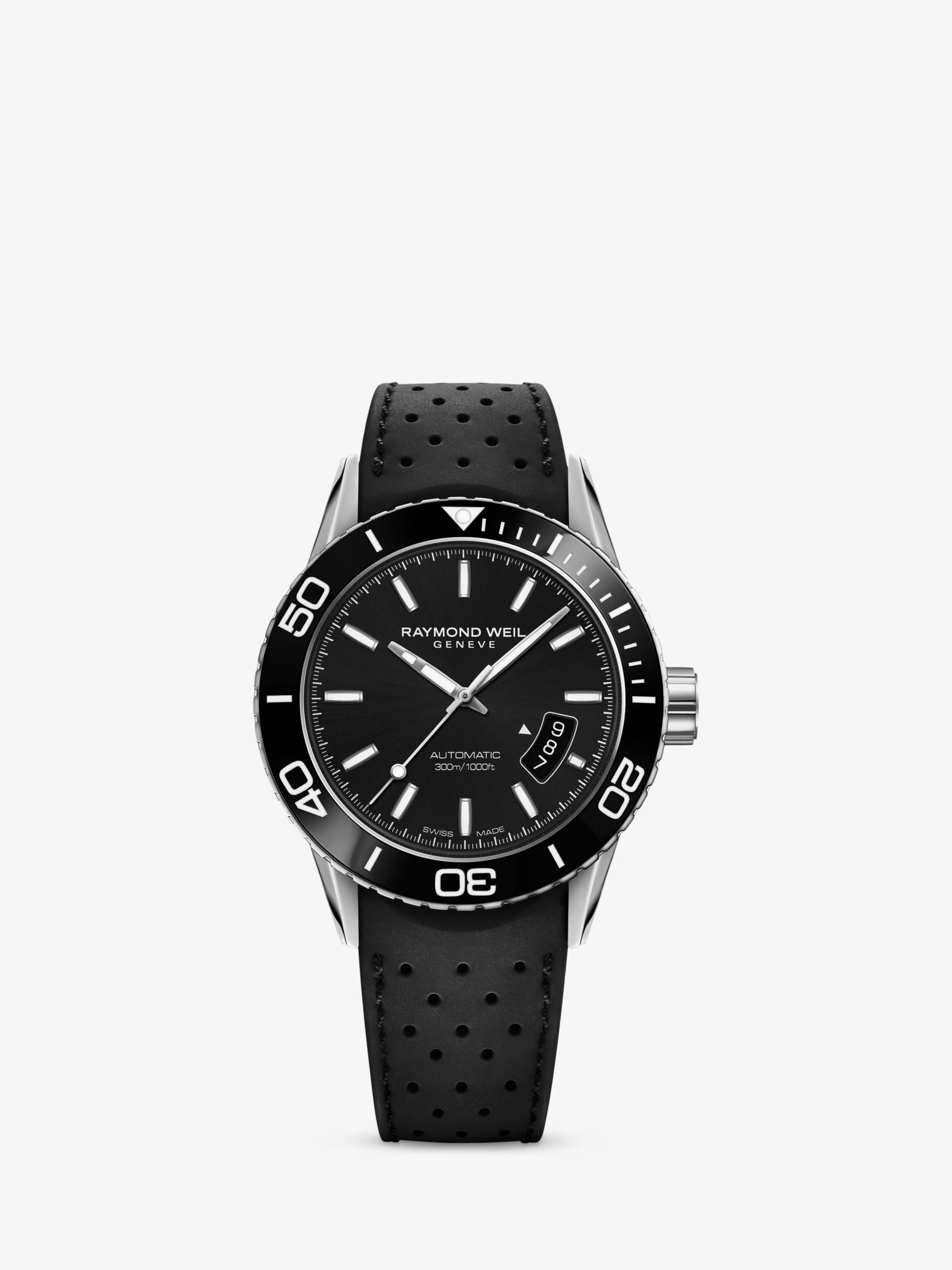Raymond Weil Raymond Weil 2760-SR1-20001 Men's Freelancer Automatic Date Rubber Strap Watch, Black