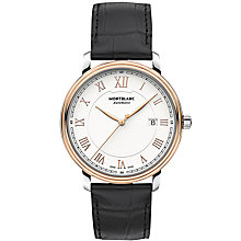 Buy Montblanc 114336 Men's Tradition Automatic Date Alligator Leather Strap Watch, Black/White Online at johnlewis.com