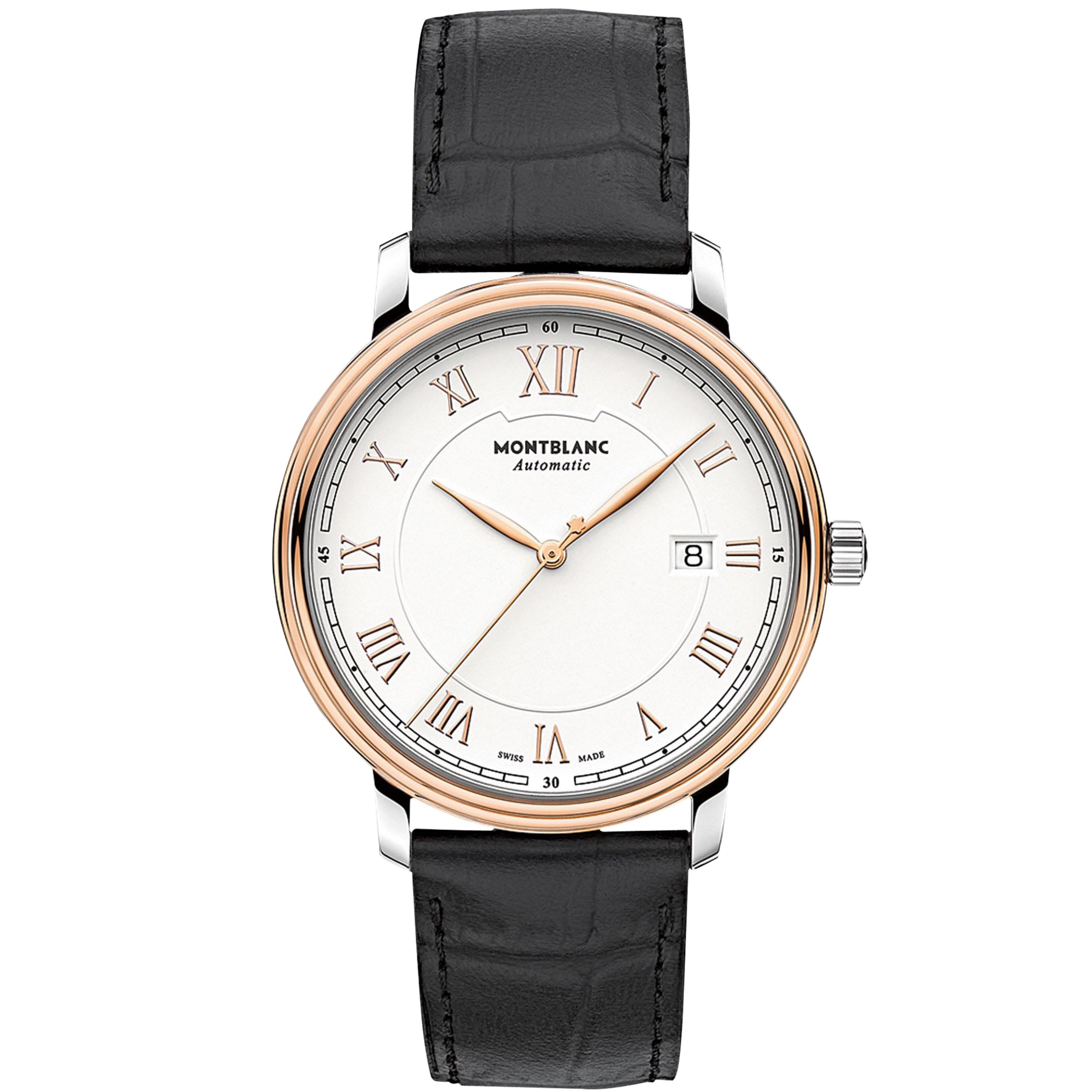 Montblanc Montblanc 114336 Men's Tradition Automatic Date Alligator Leather Strap Watch, Black/White