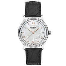 Buy Montblanc 114957 Women's Tradition Diamond Date Alligator Leather Strap Watch, Black/White Online at johnlewis.com