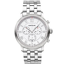 Buy Montblanc 114340 Men's Tradition Chronograph Date Bracelet Strap Watch, Silver/White Online at johnlewis.com