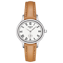 Buy Tissot T1031101603300 Women's T-Lady Bella Ora Leather Strap Watch, Tan/White Online at johnlewis.com