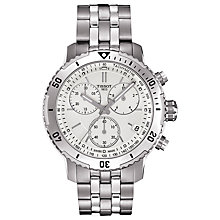 Buy Tissot T0674171103101 Men's T-Sport PRS200 Chronograph Date Bracelet Strap Watch, Silver Online at johnlewis.com