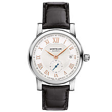 "Buy Montblanc 113879 Men's Star Roman Small Second ""Carpe Diem"" Date Special Edition Leather Strap Watch, Black/White Online at johnlewis.com"