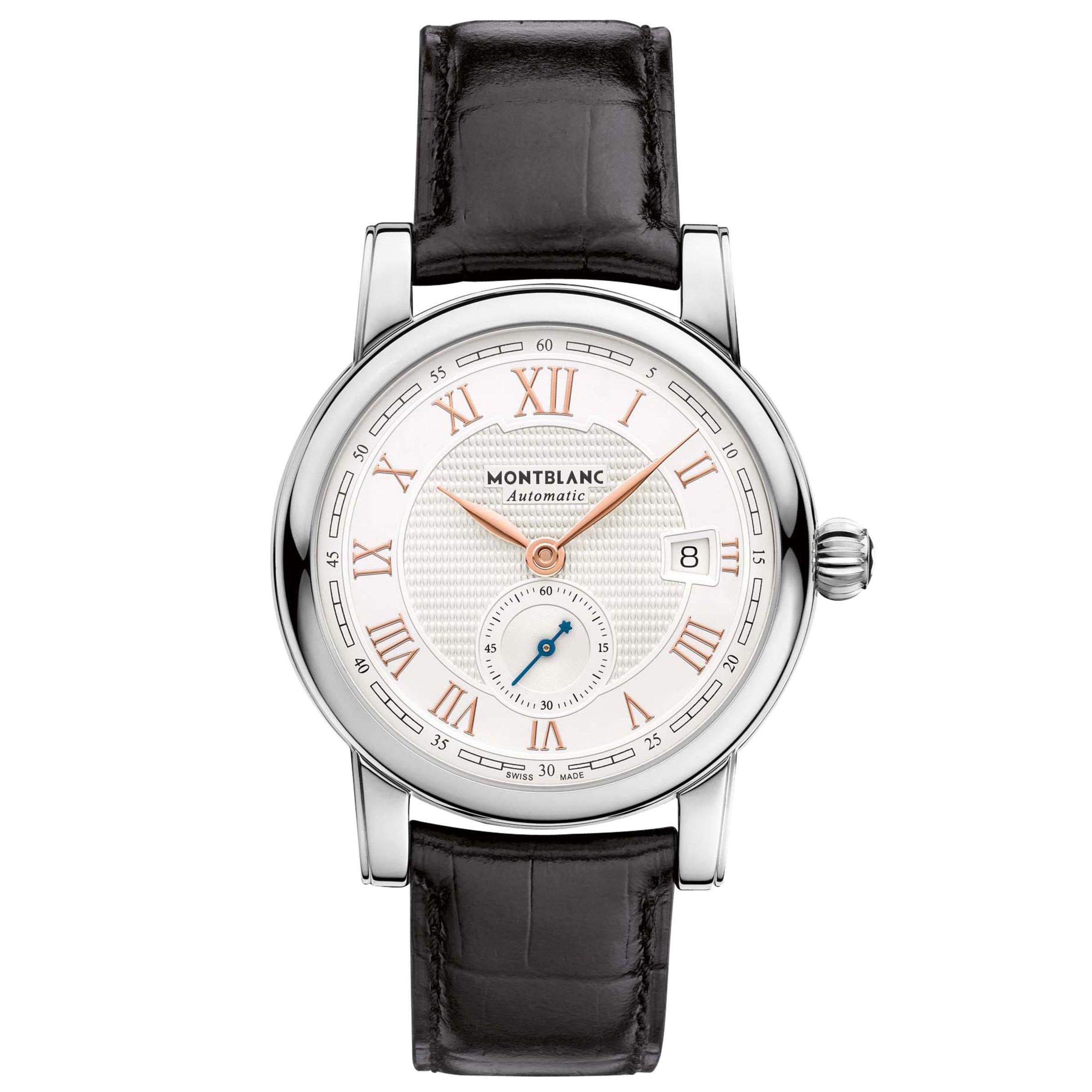 Montblanc Montblanc 113879 Men's Star Roman Small Second Carpe Diem Date Special Edition Leather Strap Watch, Black/White