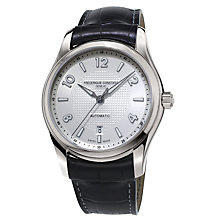 Buy Frédérique Constant FC-303RMS6B Men's Runabout Automatic Leather Strap Watch, Black/White Online at johnlewis.com