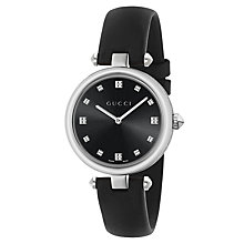 Buy Gucci YA141403 Women's Diamantissima Leather Strap Watch, Black Online at johnlewis.com
