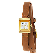 Buy Gucci YA128521 Women's G-Frame Leather Strap Watch, Tan/White Online at johnlewis.com