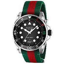 Buy Gucci YA136209 Men's Dive Stainless Steel Fabric Strap Watch, Multi Online at johnlewis.com