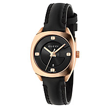 Buy Gucci YA142509 Women's GG2570 Leather Strap Watch, Black Online at johnlewis.com