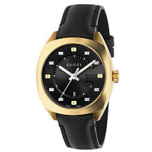 Buy Gucci YA142408 Women's GG2570 Date Leather Strap Watch, Black Online at johnlewis.com