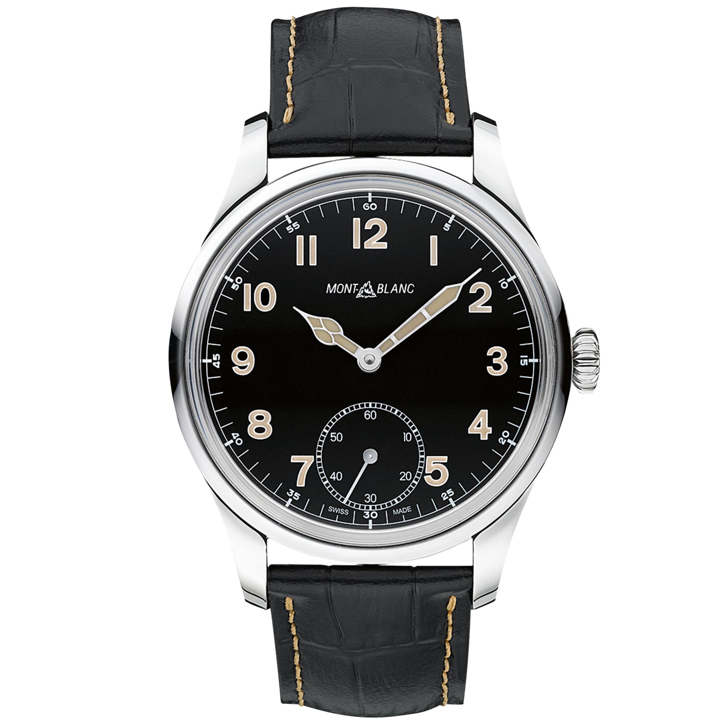 Montblanc Montblanc 113860 Men's 1858 Leather Strap Watch, Black