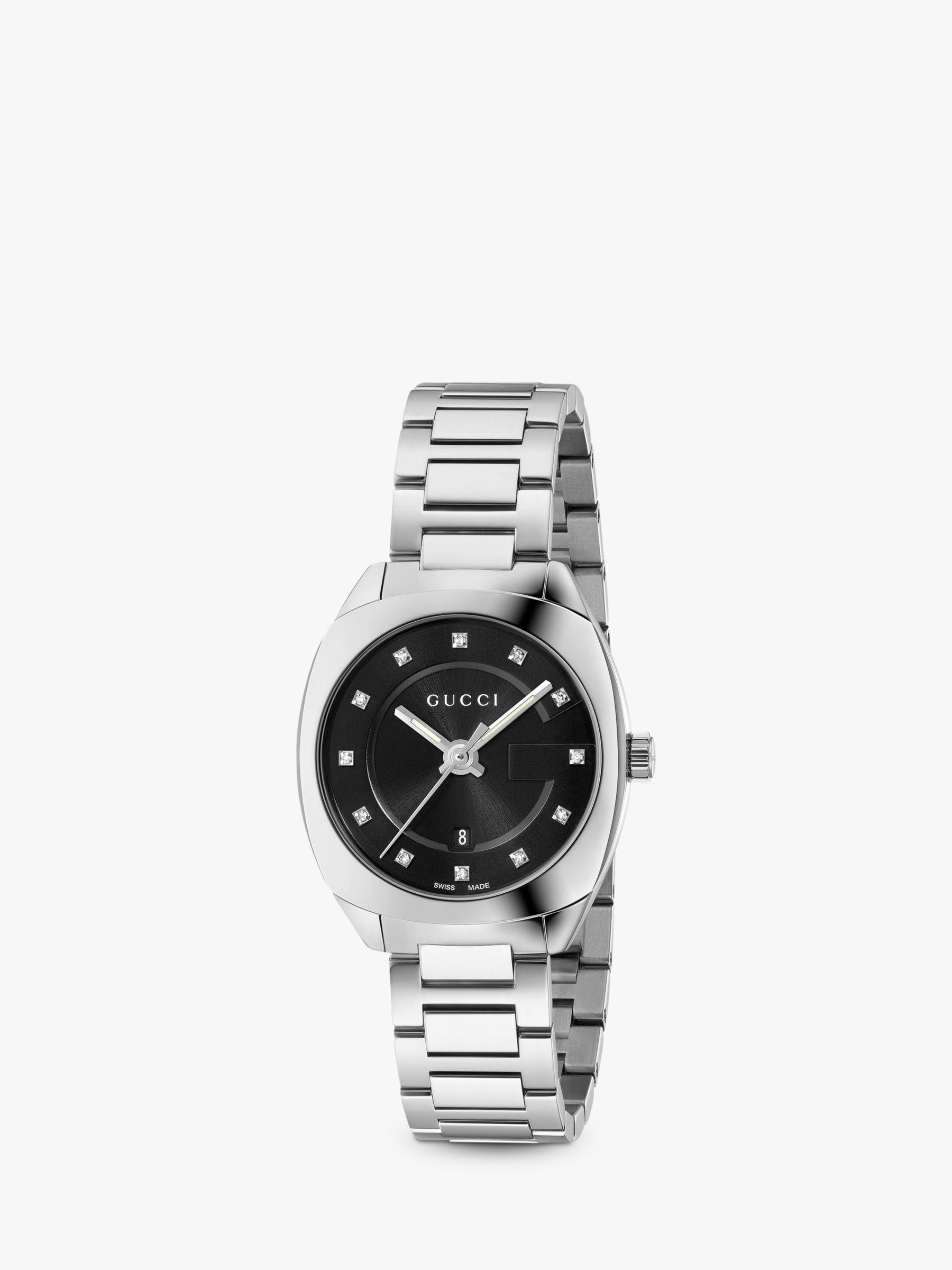 Buy Gucci YA142503 Women's GG2570 Diamond Date Bracelet Strap Watch, Silver/Black Online at johnlewis.com