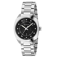 Buy Gucci YA142404 Women's GG2570 Diamond Date Bracelet Strap Watch, Silver/Black Online at johnlewis.com