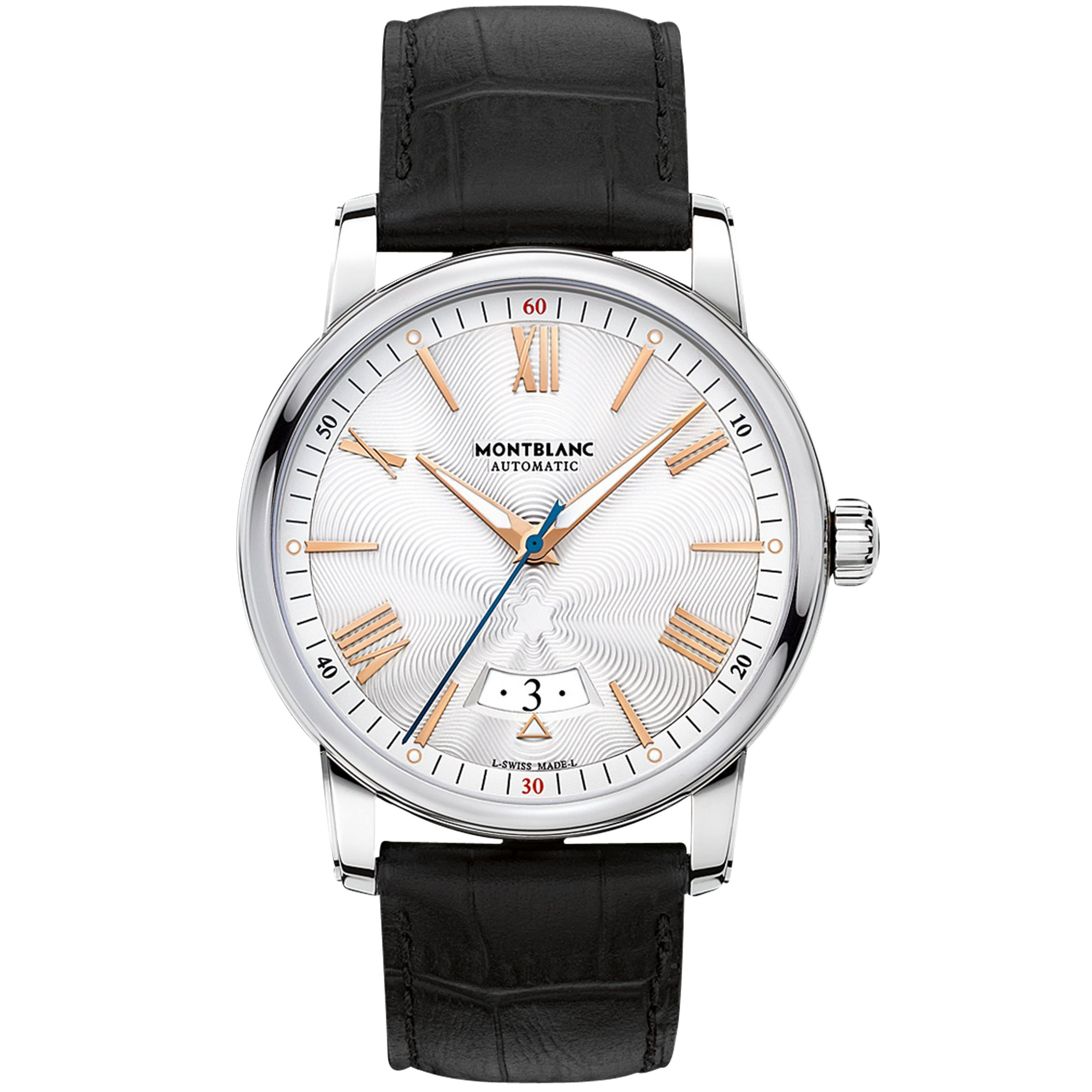 Montblanc Montblanc 114841 Men's 4810 Automatic Date Alligator Leather Strap Watch, Black/Silver