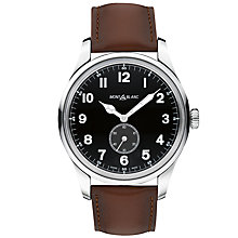 Buy Montblanc 115073 Men's 1858 Automatic Small Second Leather Strap Watch, Brown/Black Online at johnlewis.com