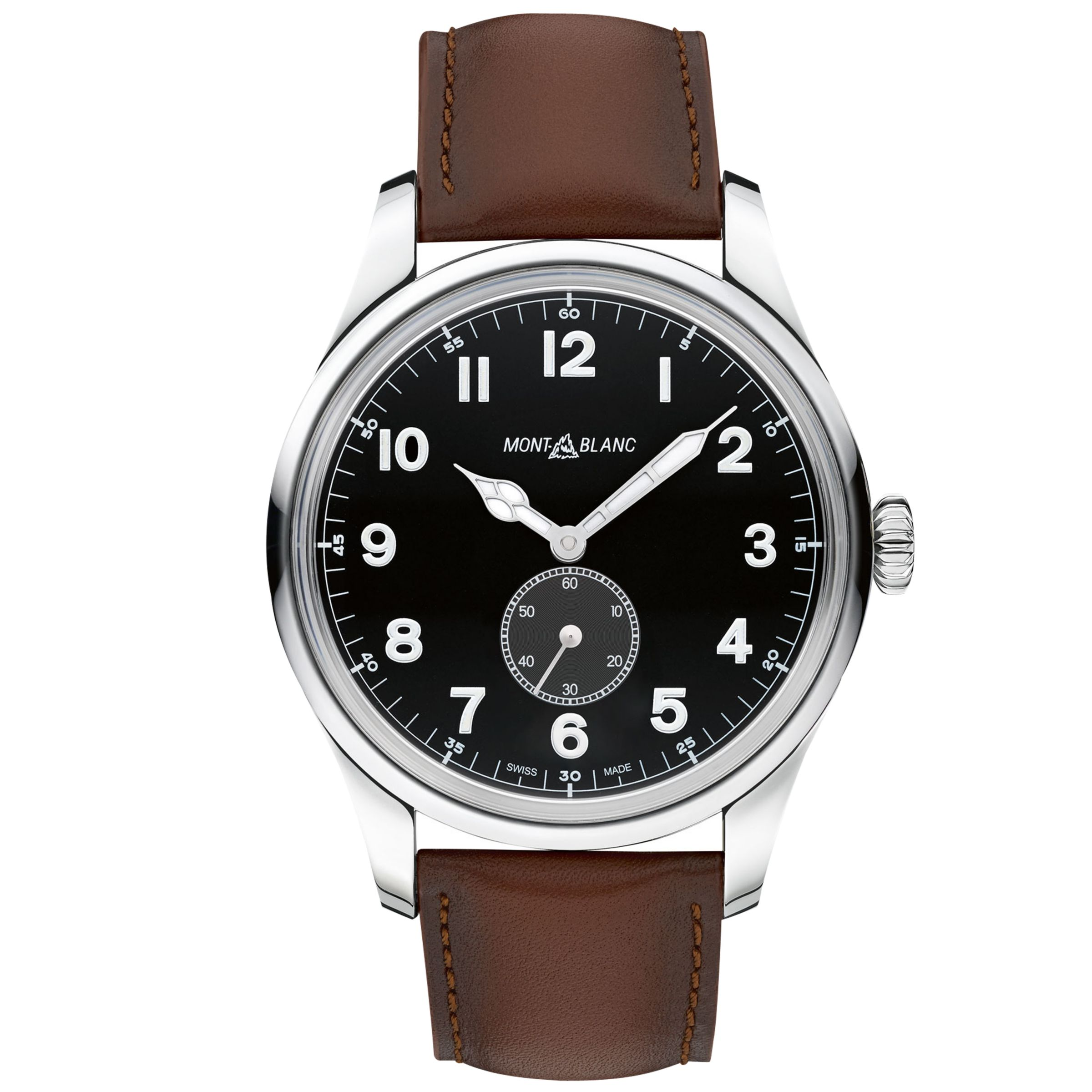 Montblanc Montblanc 115073 Men's 1858 Automatic Small Second Leather Strap Watch, Brown/Black