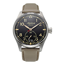 Buy Alpina AL-280BGR4S6 Men's Startimer Pilot Date Leather Strap Watch, Cream/Black Online at johnlewis.com