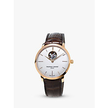 Buy Frédérique Constant FC-312V4S4 Men's Slimline Skeleton Leather Strap Watch, Brown/White Online at johnlewis.com