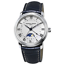 Buy Frédérique Constant FC-330MC4P6 Men's Classic Moonphase Leather Strap Watch, Black/White Online at johnlewis.com