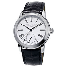 Buy Frédérique Constant FC-710MS4H6 Men's Classic Manufacture Calendar Automatic Leather Strap Watch, Black/White Online at johnlewis.com