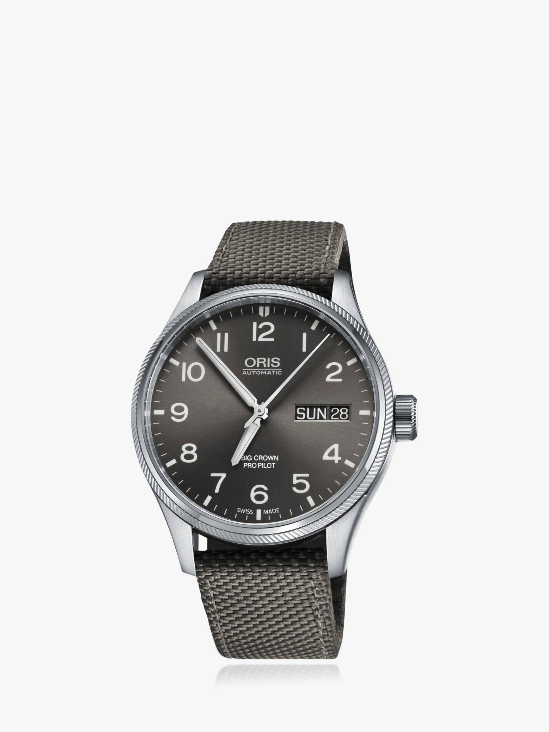 Oris Oris 752 7698 4063-07 5 22 17FC Men's Big Crown Pro Pilot Automatic Date Day Fabric Strap Watch, Grey