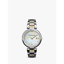 Buy Raymond Weil 1600-STP-0099 Women's Shine Date Diamond Two Tone Bracelet Strap Watch, Silver/Gold Online at johnlewis.com