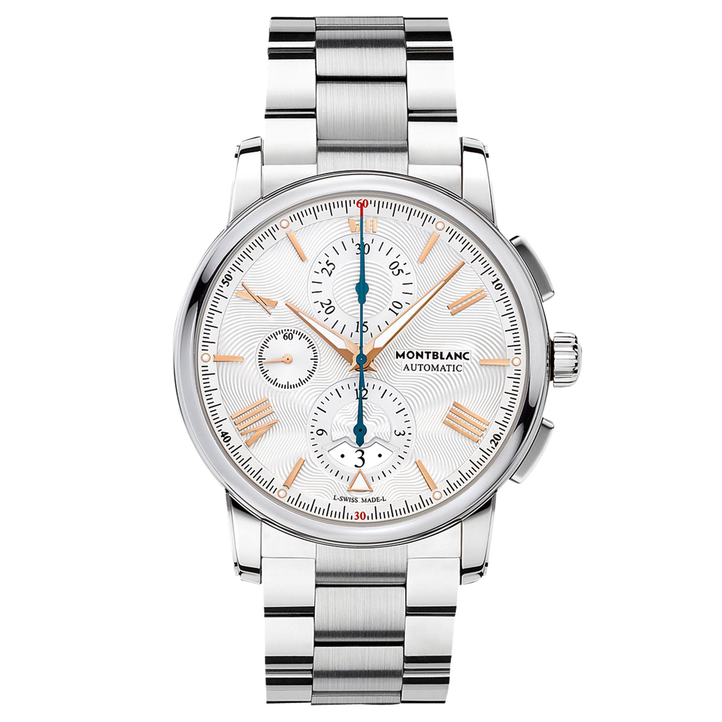 Montblanc Montblanc 114856 Men's 4810 Automatic Chronograph Date Bracelet Strap Watch, Silver/White
