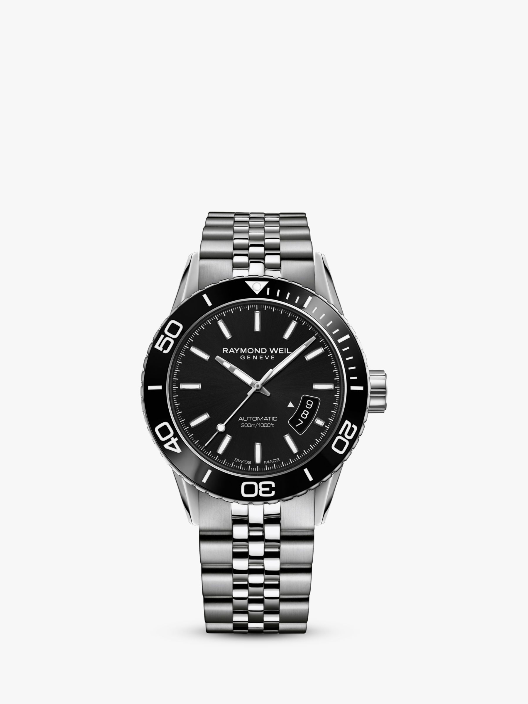 Raymond Weil Raymond Weil 2760-ST1-20001 Men's Freelancer Automatic Date Bracelet Strap Watch, Silver/Black