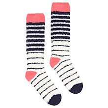 Buy Joules Fab Fluffy Stripe Knee High Socks, French Navy/Multi Online at johnlewis.com