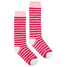 Buy Joules Fab Fluffy Stripe Knee High Socks, Fuchsia/Blush Online at johnlewis.com